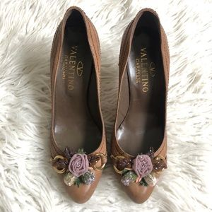 Valentino Leather Floral Beaded Appliqué Pumps